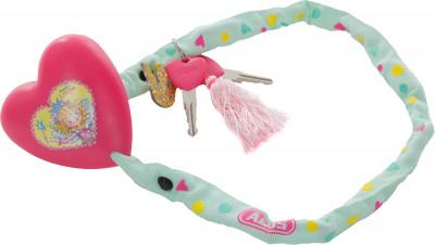 Замок велосипедный с ключами ABUS PrincessНадежный детский велосипедный замок abus princess 1510 60 для девочек представляет собой цепь из 4 мм стали, двухкомпонентная текстильная оболочка защитит краску велосипеда<br>Тип замка: На ключе; Материал троса: Сталь; Материал замка: Сталь; Длина: 60 см; Толщина: 4 мм; Вид спорта: Велоспорт; Срок гарантии: 6 месяцев; Производитель: ABUS; Артикул производителя: 039539_AB; Страна производства: Китай; Размер RU: Без размера;