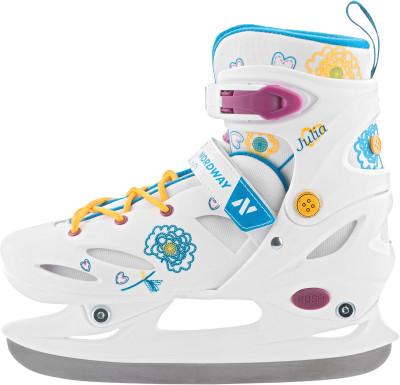 Nordway Julia (2016, детские)Яркие детские коньки с раздвижной системой регулировки размера и ударопрочной конструкцией.<br>Вес, кг: 1,2; Раздвижной ботинок: Да; Материал ботинка: Полиэтилен; Материал подкладки: Синтетическая ткань; Материал лезвия: Нержавеющая сталь; Тип фиксации: Шнурки, Клипса, Липучка; Поддержка голеностопа: Есть; Морозоустойчивый стакан: Да; Анатомические вкладыши: Есть; Материал подошвы: Пластик; Заводская заточка: Да; Утепленный ботинок: Да; Сезон: 2017; Пол: Женский; Возраст: Дети; Вид спорта: Фитнес; Уровень подготовки: Начинающий; Технологии: Smart Size, Solid Blade; Производитель: Nordway; Артикул производителя: GLXG-00-30; Срок гарантии: 2 года; Страна производства: Китай; Размер RU: 30-33;