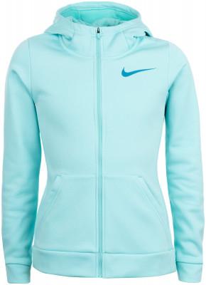 Джемпер для девочек Nike ThermaДжемпер для девочек от nike станет отличным выбором для фитнеса в прохладную погоду. Практичность спереди расположены 2 кармана.<br>Пол: Женский; Возраст: Дети; Вид спорта: Фитнес; Капюшон: Не отстегивается; Количество карманов: 2; Застежка: Молния; Материал верха: 100 % полиэстер; Производитель: Nike; Артикул производителя: 859971-446; Страна производства: Таиланд; Размер RU: 140-152;