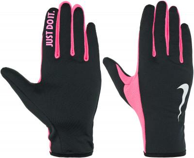 Перчатки женские NikeУдобные перчатки от nike станут необходимым аксессуаром для пробежек в прохладные дни.<br>Пол: Женский; Возраст: Взрослые; Вид спорта: Бег; Производитель: Nike; Артикул производителя: N.RG.E8-049; Страна производства: Китай; Материалы: 94 % полиэстер, 2 % нейлон, 2 % резина, 2 % силикон; Размер RU: S;