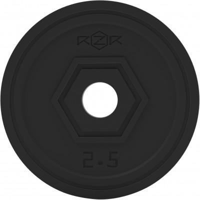 Блин стальной обрезиненный, 2,5 кг RZR-R25Блины<br>Обрезиненные блины для комплектации различных тренировочных грифов: прямых, изогнутых ez образных, w- образных, гантельных. Посадочный диаметр составляет 31 мм.