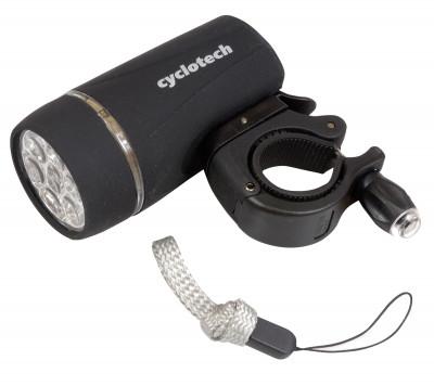 Фонарь велосипедный передний CyclotechПередний велосипедный фонарь cyclotech работает от 4 батареек типа ааа.<br>Материалы: Пластик; Вид спорта: Велоспорт; Производитель: Cyclotech; Артикул производителя: QL-233; Страна производства: Тайвань; Размер RU: Без размера;