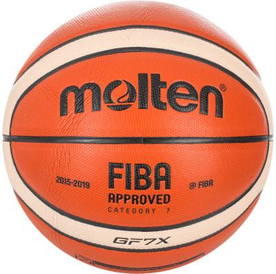 Мяч баскетбольный MoltenБаскетбольный мяч для соревнований и тренировок. Прочность в модели использована композитная кожа премиум класса.<br>Сезон: 2017; Возраст: Взрослые; Вид спорта: Баскетбол; Тип поверхности: Для зала; Назначение: Тренировочные; Материал покрышки: Композитная кожа; Материал камеры: Бутил; Способ соединения панелей: Клееный; Количество панелей: 12; Вес, кг: 0,57-0,61; Производитель: Molten; Артикул производителя: BGF7X; Срок гарантии: 2 года; Страна производства: Таиланд; Размер RU: 7;