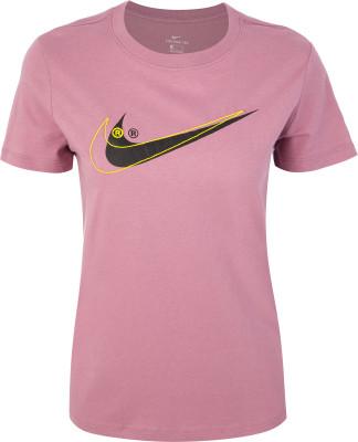 Футболка женская Nike Sportswear, размер 46-48Футболки<br>Отличная основа для образа в спортивном стиле - хлопковая футболка nike sportswear swoosh. Натуральные материалы мягкая хлопковая ткань джерси гарантирует комфорт.