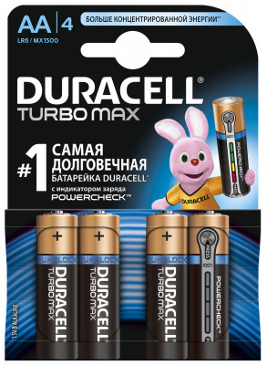 Батарейки щелочные Duracell Turbo AA/LR06, 4 шт.Duracell turbo является одной из наиболее мощных щелочных (алкалиновых) батареек среди представленных сегодня на рынке.<br>Пол: Мужской; Возраст: Взрослые; Вид спорта: Кемпинг, Походы; Состав: марганцево-цинковые с щелочным электролитом; Производитель: Duracell; Артикул производителя: 4847; Страна производства: Бельгия; Размер RU: Без размера;