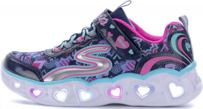 Кроссовки для девочек Skechers Heart Lights Love Lights, размер 31,5Кроссовки <br>Яркие и легкие кроссовки для девочек из линейки heart lights от skechers для невероятного образа в спортивном стиле.