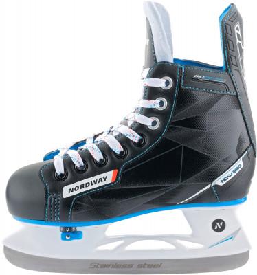 Коньки хоккейные детские Nordway NDW350Раздвижные хоккейные коньки будут радовать вашего ребенка не один год.<br>Вес, кг: 1,16; Раздвижной ботинок: Да; Материал ботинка: Износостойкий нейлон, искусственная кожа; Материал подкладки: Вельвет; Материал лезвия: Нержавеющая сталь; Анатомический ботинок: Да; Тип фиксации: Шнурки; Поддержка голеностопа: Есть; Ударопрочный мыс: Да; Морозоустойчивый стакан: Да; Анатомические вкладыши: Есть; Материал подошвы: Пластик; Заводская заточка: Да; Сезон: 2017; Пол: Мужской; Возраст: Дети; Вид спорта: Хоккей; Уровень подготовки: Начинающий; Технологии: Biometric, Smart Size, Solid Blade; Производитель: Nordway; Артикул производителя: HSY37-9926; Срок гарантии: 2 года; Страна производства: Китай; Размер RU: 25-28;