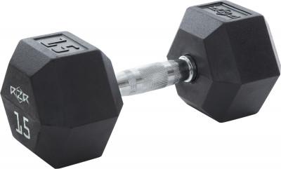 Гантель гексагональная обрезиненная RZR, 15 кг