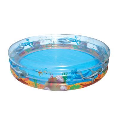 Bestway BW51048Детский надувной бассейн можно быстро и просто установить в любом месте на даче. Яркий веселый рисунок порадует и малышей, и взрослых. Ремнабор в комплекте.<br>Объем: 960 л; Материалы: Поливинилхлорид; Размеры (дл х шир х выс), см: 170 x 53; Размер упаковки: 20 x 20 x 25 см; Вес, кг: 2,8; Вид спорта: Кемпинг; Производитель: Bestway; Артикул производителя: BW51048; Срок гарантии: 6 месяцев; Страна производства: Китай; Размер RU: Без размера;