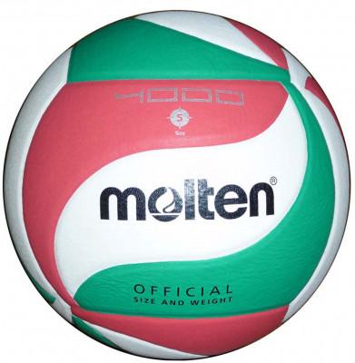 Мяч волейбольный MoltenОчень прочный мяч для соревнований: изготовлен из мягкой синтетической кожи; оригинальный крой панелей; камера из бутила; отлично подходит для командных тренировок в зале; т<br>Сезон: 2015; Возраст: Взрослые; Вид спорта: Волейбол; Тип поверхности: Для зала; Назначение: Тренировочные; Материал покрышки: Синтетическая кожа; Материал камеры: Бутил; Способ соединения панелей: Клееный; Количество панелей: 18; Вес, кг: 0,26-0,28; Технологии: Flistatec; Производитель: Molten; Артикул производителя: V5M4000; Срок гарантии: 2 года; Страна производства: Таиланд; Размер RU: 5;