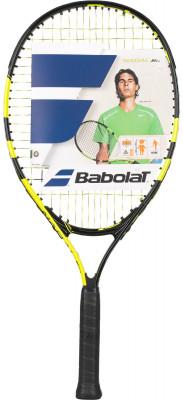 Ракетка для большого тенниса детская Babolat Nadal Junior 23Детская ракетка nadal junior 23 для начинающих теннисистов разработана специально для тех, кто мечтает следовать по стопам рафаэля надаля.<br>Материал ракетки: Алюминий; Вес (без струны), грамм: 215; Размер головы: 600 кв.см; Длина: 23; Стиль игры: Защитный стиль; Производитель: Babolat; Артикул производителя: 140181-142; Срок гарантии: 2 года; Страна производства: Франция; Вид спорта: Теннис; Уровень подготовки: Начинающий; Наличие струны: В комплекте; Наличие чехла: Опционально; Размер RU: Без размера;