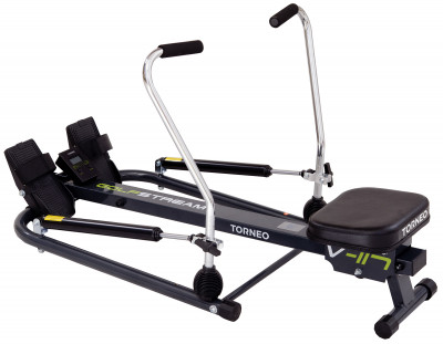 Torneo Golfstream V-117Гребной тренажер golfstream отличное решение для вашего здоровья и отличной формы, выполненное в динамичном дизайне.<br>Система нагружения: Гидравлическая; Регулировка нагрузки: Механическая; Графический дисплей: LCD; Максимальный вес пользователя: 100 кг; Время тренировки: Есть; Пройденная дистанция: Есть; Количество гребков за тренировку: Есть; Израсходованные калории: Есть; Дополнительно: Резные насечки на ручках для обозначения уровня нагрузки; Размер в рабочем состоянии (дл. х шир. х выс), см: 120 х 74 х 27; Вес, кг: 16,2; Вид спорта: Кардиотренировки; Технологии: EverProof; Производитель: Torneo; Артикул производителя: V-117; Срок гарантии: 2 года; Страна производства: Китай; Размер RU: Без размера;