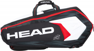 Сумка Head Djokovic 9R SupercombiУдобная теннисная сумка от head для девяти ракеток. Модель можно носить как рюкзак. Плечевой ремень регулируется по длине.<br>Размеры (дл х шир х выс), см: 82 х 36 х 36; Количество ракеток: 9; Отделение для бутылки: Нет; Отделение для ракетки: Да; Термоизолированные отсеки: 1; Отделение для обуви: Нет; Плечевой ремень: Да; Регулируемые лямки: Да; Количество отделений: 2; Количество карманов: 3; Боковые карманы: 2; Вид спорта: Теннис; Артикул производителя: 283048; Производитель: Head; Страна производства: Китай; Срок гарантии: 2 года; Материал верха: 65 % полиэстер, 35 % полиуретан; Материал подкладки: 65 % полиэстер, 35 % полиуретан; Размер RU: Без размера;