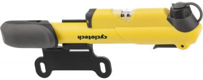 Насос с манометром CyclotechНасос с манометром подходит для накачивания камер с авто- и велониппелем. Эргономичный корпус и зажим ниппеля. Удобная поворотная рукоятка.<br>Максимальное давление: 8,2 бар/120 psi; Тип ниппеля: Велосипедный, автомобильный; Материалы: Пластик, аллюминий; Вид спорта: Велоспорт; Производитель: Cyclotech; Артикул производителя: CP-1Y; Длина: 21,5 см; Страна производства: Тайвань; Размер RU: Без размера;