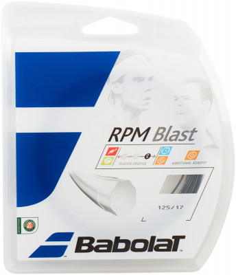 Струна Babolat RPM Blast, 125/17Плотная и технологичная струна из полиэстерового моноволокна.<br>Материалы: Синтетические материалы; Толщина: 1,25 мм; Вид спорта: Теннис; Производитель: Babolat; Артикул производителя: 241101-105; Страна производства: Франция; Размер RU: 125;