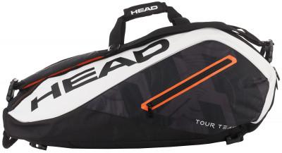 Сумка для 9 ракеток Head Tour TeamСумка с двумя большими отделениями, в которые помещаются девять теннисных ракеток, одежда и обувь.<br>Размеры (дл х шир х выс), см: 79 х 34 х 36; Вид спорта: Большой теннис; Артикул производителя: 283447; Производитель: Head; Страна производства: Китай; Срок гарантии: 1 год; Размер RU: Без размера;