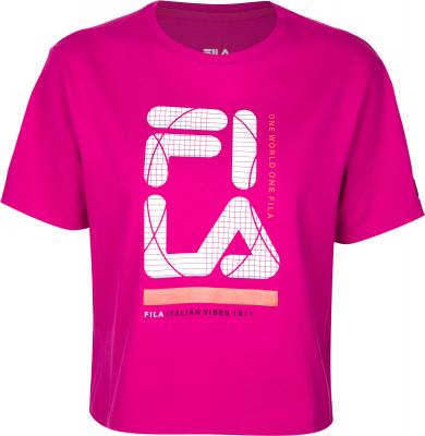 Футболка женская Fila, размер 46Футболки<br>Яркая футболка fila для твоего образа в спортивном стиле. Уникальный дизайн оригинальный свободный крой с разрезами по бокам привлекает внимание.
