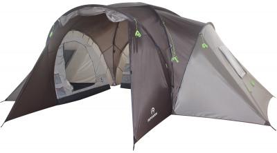 Палатка 6-местная Outventure Dalen 6Шестиместная кемпинговая палатка с одним тамбуром и тремя отдельными спальными отделениями - то, что нужно для отдыха на природе большой компанией.<br>Назначение: Кемпинговые; Количество мест: 6; Наличие внутренней палатки: Есть; Тип каркаса: Внешний; Геометрия: Полусфера; Вес, кг: 15; Размер в собранном виде (д х ш х в): 510 x 505 x 190 см; Размер в сложенном виде (дл. х шир. х выс), см: 69 x 27 x 27 см; Размер тамбура (д х ш х в): 210 x 210 x 190 см; Количество комнат: 3; Количество входов: 1; Вентиляционные окна: Есть; Количество вентиляционных окон: 3; Диаметр дуг: 9,5 мм, 11 мм; Внешний тент: Есть; Усиленные углы: Есть; Количество оттяжек: 16; Навес: Есть; Крепление для фонаря: Есть; Водонепроницаемость тента: 2000 мм в.ст.; Водонепроницаемость дна: 10 000 мм в.ст.; Проклеенные швы: Есть; Противомоскитная сетка: Есть; Материал тента: Полиэстер; Материал внутренней палатки: Полиэстер; Материал дна: Армированный полиэтилен; Материал каркаса: Фибергласс; Материал колышков: Сталь; Вид спорта: Кемпинг; Производитель: Outventure; Артикул производителя: 0KE116T1; Срок гарантии: 2 года; Страна производства: Бангладеш; Размер RU: Без размера;