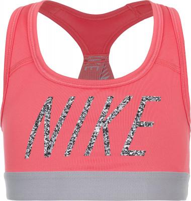 Бра для девочек Nike Pro SportsБра для девочек от nike обеспечивает средний уровень поддержки груди и отлично подходит для фитнеса.<br>Пол: Женский; Возраст: Дети; Вид спорта: Фитнес; Уровень поддержки: Средняя; Плоские швы: Да; Тип чашек: Отсутствуют; Светоотражающие элементы: Нет; Материалы: 88 % полиэстер, 12 % эластан; Технологии: Nike Dri-FIT; Производитель: Nike; Артикул производителя: 890218-823; Страна производства: Шри-Ланка; Размер RU: 140-152;