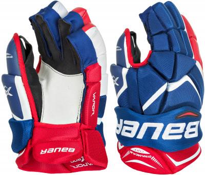 Перчатки хоккейные Bauer Vapor X800Хоккейные перчатки надежно защищают руки и нижнюю часть предплечье спортсмена во время игр и тренировок. Зауженная конструкция перчатки форма напоминает латинскую букву v.<br>Пол: Мужской; Возраст: Взрослые; Вид спорта: Хоккей; Материал верха: Синтетическая кожа + проволочная сетка; Материал наполнителя: Пена двойной плотности; Материал подкладки: Синтетический материал THERMO MAX; Материалы: Нейлон, пена двойной плотности, полиэтилен; Сертификация: Не требуется; Вентиляция: Есть; Производитель: Bauer; Артикул производителя: 1048087-NRW; Срок гарантии: 2 года; Страна производства: Китай; Размер RU: 15;