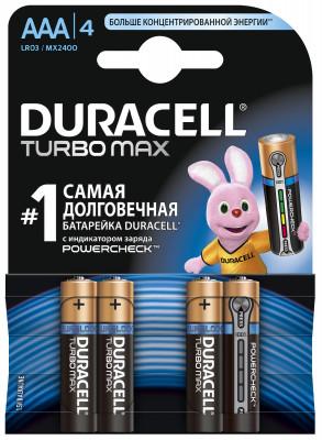 Батарейки щелочные Duracell Turbo AAA/LR03, 4 шт.Duracell turbo является одной из наиболее мощных щелочных (алкалиновых) батареек среди представленных сегодня на рынке.<br>Пол: Мужской; Возраст: Взрослые; Вид спорта: Кемпинг, Походы; Состав: марганцево-цинковые с щелочным электролитом; Производитель: Duracell; Артикул производителя: 4848; Страна производства: Бельгия; Размер RU: Без размера;