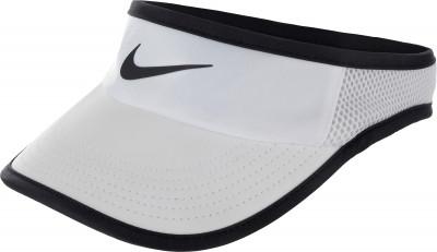 Козырек женский Nike Court AerobillЖенский теннисный козырек nikecourt aerobill защищает глаза от солнца, позволяя полностью сконцентрироваться на игре.<br>Пол: Женский; Возраст: Взрослые; Вид спорта: Теннис; Материал верха: 100 % полиэстер; Материал подкладки: 91 % полиэстер, 9 % эластан; Производитель: Nike; Артикул производителя: 899656-100; Страна производства: Вьетнам; Размер RU: Без размера;