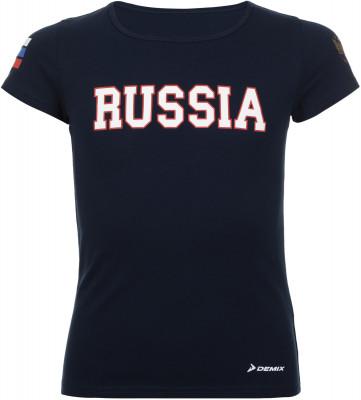 Футболка для девочек Demix, размер 128Футболки и майки<br>Футболка из линии russian team от demix для юных поклонниц спорта и болельщиц российской сборной. Уникальный дизайн футболка украшена национальной российской символикой.