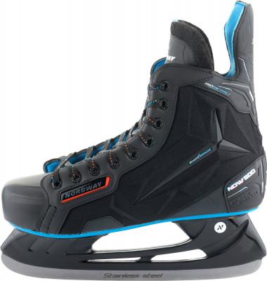 Коньки хоккейные NordwayМодель коньков от nordway рассчитана на широкий круг любителей хоккея.<br>Вес, кг: 1 730; Материал ботинка: Износостойкий нейлон, искусственная кожа; Материал подкладки: Вельвет; Материал лезвия: Нержавеющая сталь; Анатомический ботинок: Да; Тип фиксации: Шнурки; Усиленный ботинок: Да; Поддержка голеностопа: Есть; Ударопрочный мыс: Да; Морозоустойчивый стакан: Да; Усиленный язык: Есть; Анатомические вкладыши: Есть; Материал подошвы: Пластик; Заводская заточка: Да; Сезон: 2017; Пол: Мужской; Возраст: Взрослые; Вид спорта: Хоккей; Уровень подготовки: Средний; Технологии: 3D Fit Nordway, Armo Tongue, Biometric, LIGHT&amp;FAST, ShockRebound, Solid Blade; Производитель: Nordway; Артикул производителя: HS37D-9938; Срок гарантии: 3 года; Страна производства: Китай; Размер RU: 38;