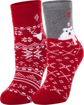 Носки для девочек Columbia, 2 парыДетские носки отлично подойдут для прогулок и путешествий в холодное время года. В комплекте 2 пары. Сохранение тепла благодаря натуральной шерсти, модель отлично греет.<br>Пол: Женский; Возраст: Дети; Вид спорта: Путешествие; Плоские швы: Нет; Светоотражающие элементы: Нет; Дополнительная вентиляция: Нет; Компрессионный эффект: Нет; Производитель: Columbia; Артикул производителя: S839KREDM; Страна производства: Китай; Материалы: 63 % акрил, 27 % шерсть, 8 % полиэстер, 2 % спандекс; Размер RU: 31-34;