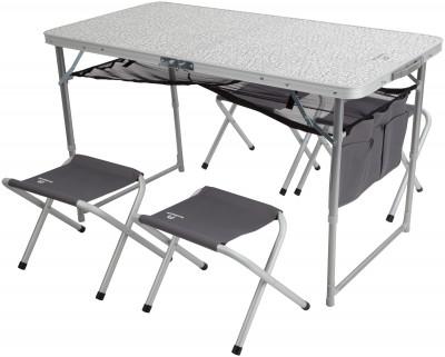 Набор Outventure: стол + 4 стулаУдобный вариант мебели для кемпинга. Удобство хранения и транспортировки складная конструкция стола и стульев идеальна для транспортировки: стулья убираются в стол.<br>Максимальная нагрузка, кг: Стол - до 30 кг, стулья - до 100 кг; Размер в рабочем состоянии (дл. х шир. х выс), см: Стол: 120 х 60 х 70, стул: 41 х 29 х 34; Размер в сложенном виде (дл. х шир. х выс), см: 60 х 60 х 7; Вес, кг: 7,6; Материал каркаса: Стол - сталь, стулья - алюминий; Материал столешницы (для столов): МДФ; Материал сидушки: Полиэстер; Вид спорта: Кемпинг; Производитель: Outventure; Срок гарантии: 2 года; Размер RU: Без размера;