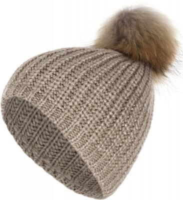 Шапка женская GlissadeАксессуары<br>Двухслойная женская шапка крупной вязки с помпоном из натурального меха. Изделие отлично сохраняет тепло, обеспечивая максимально комфортные ощущения при носке.