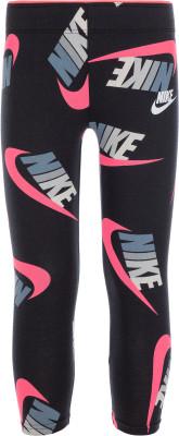 Легинсы для девочек Nike, размер 110Брюки <br>Комфортные детские легинсы в спортивном стиле от nike, выполненные из приятной на ощупь ткани джерси.
