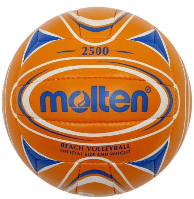 Мяч для пляжного волейбола MoltenМяч для пляжного волейбола: изготовлен из мягкой синтетической кожи для мягкого контакта с рукой; отличные игровые характеристики; ручное шитье.<br>Сезон: 2015; Возраст: Взрослые; Вид спорта: Волейбол; Тип поверхности: Для пляжа; Назначение: Тренировочные; Материал покрышки: Синтетическая кожа; Материал камеры: Резина; Способ соединения панелей: Ручная сшивка; Количество панелей: 18; Вес, кг: 0,26-0,28; Производитель: Molten; Артикул производителя: V5B2500-OB; Срок гарантии: 2 года; Страна производства: Пакистан; Размер RU: 5;