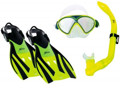 Комплект для плавания детский JossДетский комплект для плавания включает маску, трубку и ласты.<br>Состав: резина, пластик; Вид спорта: Подводное плавание; Производитель: Joss; Артикул производителя: M9610ST3334-38; Срок гарантии: 2 года; Страна производства: Китай; Размер RU: 34-38;