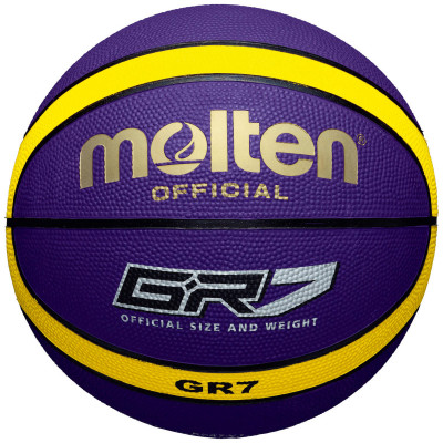 Мяч баскетбольный MoltenБаскетбольный мяч для тренировок с двенадцатипанельным дизайном, который отлично подойдет для игры как в зале, так и на улице прочность покрышка изготовлена из резины с увел<br>Сезон: 2017; Возраст: Взрослые; Вид спорта: Баскетбол; Тип поверхности: Универсальные; Назначение: Тренировочные; Материал покрышки: Резина; Материал камеры: Бутил; Способ соединения панелей: Клееный; Количество панелей: 12; Вес, кг: 0,57-0,61; Производитель: Molten; Артикул производителя: BGR7-VY; Срок гарантии: 2 года; Страна производства: Таиланд; Размер RU: 7;