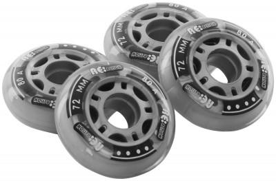 Набор колес для роликов REACTION 72 мм, 80А, 4 штНабор колес 72 мм жесткостью 80а. Размер колес обеспечит отличную маневренность для любителей трюков.<br>Материалы: Полиуретан, пластик; Диаметр: 72 мм; Вес, кг: 0,2; Вид спорта: Роликовые коньки; Производитель: REACTION; Артикул производителя: RW72\80; Срок гарантии: 6 месяцев; Страна производства: Китай; Размер RU: Без размера;