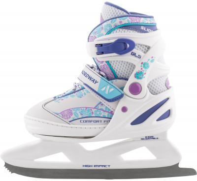 Nordway Slide (детские)Детские коньки slide girl с раздвижной системой регулировки размера. Модель подойдет как новичкам, так и тем ребятам, у которых уже есть навыки катания.<br>Вес, кг: 0,63; Раздвижной ботинок: Да; Материал ботинка: Полипропилен, искусственная кожа; Материал подкладки: Синтетическая ткань; Материал лезвия: Нержавеющая сталь; Тип фиксации: Шнурки, Клипса, Липучка; Поддержка голеностопа: Есть; Морозоустойчивый стакан: Да; Анатомические вкладыши: Есть; Материал подошвы: Пластик; Заводская заточка: Да; Утепленный ботинок: Да; Пол: Женский; Возраст: Дети; Вид спорта: Фитнес; Уровень подготовки: Начинающий; Технологии: 3D Fit Nordway, Fast Fixation System, Smart Size, Solid Blade; Производитель: Nordway; Артикул производителя: DIH0040031; Срок гарантии: 2 года; Страна производства: Китай; Размер RU: 31-36;