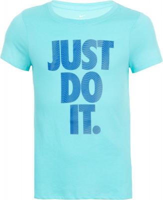 Футболка для девочек NikeУдобная и практичная футболка для девочек. Отведение влаги ткань с технологией nike dri-fit отлично отводит влагу.<br>Пол: Женский; Возраст: Дети; Вид спорта: Фитнес; Технологии: Nike Dri-FIT; Производитель: Nike; Артикул производителя: 862595-446; Страна производства: Иордания; Материалы: 60 % хлопок, 40 % полиэстер; Размер RU: 128-140;