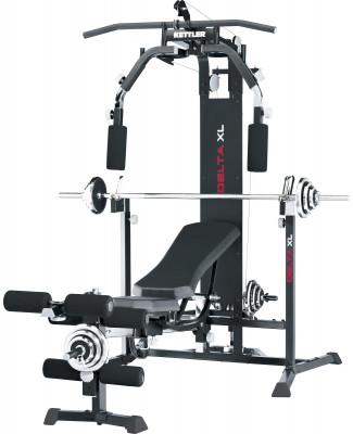 Силовой центр Kettler Delta XLМногофункциональный силовой центр с весовым стеком сочетает в себе приемущества силовой скамьи и силового тренажера.<br>Тренируемые группы мышц: Руки, плечи, грудь, ноги, спина; Максимальная нагрузка на стойки для штанги, кг: 150; Максимальная нагрузка на весовой стек, кг: 80; Максимальный вес пользователя: 150 кг; Регулировки: Бесступенчатая регулировка наклона спинки (в т.ч. отрицательный наклон), наклон и положение сиденья, высота стойки для штанги, длина рычагов для баттерфляя и блока для ног; Особенности: Парта для бицепса в комплекте, Расстояние между стойками для штанги - 100 см; Зачехление весового стека: Стальное; Размер в рабочем состоянии (дл. х шир. х выс), см: 244 х 131 х 200; Размер в сложенном виде (дл. х шир. х выс), см: 142 х 125 х 200; Вес, кг: 110; Вид спорта: Силовые тренировки; Производитель: Heinz-Kettler GmbH &amp; CO.KG; Артикул производителя: 7707-755; Срок гарантии: 2 года; Страна производства: Германия; Размер RU: Без размера;