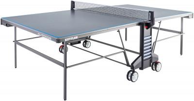 Теннисный стол Kettler Outdoor 4Всепогодный теннисный стол от kettler. Удобство пользования встроенная сетка регулируется по высоте и натяжению.<br>Размер в рабочем состоянии (дл. х шир. х выс), см: 274 х 152,5 х 76; Размер в сложенном виде (дл. х шир. х выс), см: 68 х 183 х 165; Вес, кг: 65; Складная конструкция: Да; Блокиратор в механизме складывания: Да; Регулировка высоты стола: Да; Держатель мячей и ракеток: Да; Труба: Овальная; Диаметр трубы: 45 х 17 мм; Материал каркаса: Сталь; Толщина игровой плиты, мм: 22; Позиция Playback: Да; Антибликовое покрытие: Да; Защитная окантовка плиты: 30 мм; Игровая поверхность: Уникальная всепогодная игровая плита ALU-TEC; Транспортировочные ролики: Да; Блокиратор колес: Да; Диаметр колес: 14 см; Материал колес: Резина; Наличие сетки: Да; Зажимной механизм: Нет; Регулировка высоты сетки: Да; Вид спорта: Настольный теннис; Производитель: Heinz-Kettler GmbH &amp; CO.KG; Артикул производителя: 7172-700; Срок гарантии: 3 года; Страна производства: Германия; Размер RU: Без размера;
