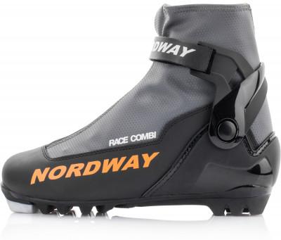 Ботинки для беговых лыж Nordway Race CombiКомбинированные ботинки для экспертов и продвинутых любителей. Верх высококачественный морозостойкий искусственный материал толщиной 2. 7 мм с пвх покрытием.<br>Сезон: 2016/2017; Назначение: Спорт; Стиль катания: Комбинированный; Уровень подготовки: Продвинутый; Пол: Мужской; Возраст: Взрослые; Вид спорта: Беговые лыжи; Система креплений: NNN; Утеплитель: Thinsulate; Форма колодки: Анатомическая колодка Biometric; Система шнуровки: Закрытая; Технологии: Biometric, Froztex, Race Cuff, Snow Guard, Thinsulate; Производитель: Nordway; Артикул производителя: 16RCCBB40; Срок гарантии: 1 год; Страна производства: Россия; Размер RU: 40;