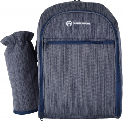 Пикниковый рюкзак Outventure, на 4 человекаПикниковый рюкзак со съемным карманом для переноски бутылки. Комплектация: 4 ножа; 4 вилки; 4 ложки; 4 пластиковые тарелки; 4 пластиковых стакана; 4 салфетки; штопор.<br>Размеры (дл х шир х выс), см: 28 х 22 х 40; Вид спорта: Кемпинг; Производитель: Outventure; Артикул производителя: IE6402Z3; Срок гарантии: 2 года; Страна производства: Китай; Размер RU: Без размера;