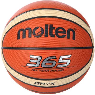 Мяч баскетбольный MoltenТренировочный мяч, изготовленный из синтетической кожи, прекрасно подойдет для игры в зале и на улице. Отличается повышенной износостойкостью.<br>Сезон: 2015/2016; Возраст: Взрослые; Вид спорта: Баскетбол; Тип поверхности: Универсальные; Назначение: Тренировочные; Материал покрышки: Синтетическая кожа; Материал камеры: Бутил; Способ соединения панелей: Клееный; Количество панелей: 12; Вес, кг: 0,57-0,61; Производитель: Molten; Артикул производителя: BGH7X; Срок гарантии: 2 года; Страна производства: Вьетнам; Размер RU: 7;