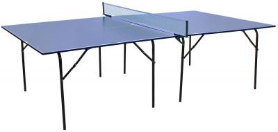 Теннисный стол для помещений TorneoСтол для закрытых помещений. Игровая плита из лдсп толщиной 16 мм. Меламиновое антибликовое покрытие игровой плиты. Размер в игровом положении: 274 х 152, 5 х 76 см.<br>Размер в рабочем состоянии (дл. х шир. х выс), см: 274 х 152,5 х 76; Размер в сложенном виде (дл. х шир. х выс), см: 9,5 x 152 x 137; Вес, кг: 60; Труба: Круглая; Диаметр трубы: 25 мм; Материал каркаса: Сталь; Толщина игровой плиты, мм: 16 мм; Антибликовое покрытие: Есть; Игровая поверхность: ДСП; Вид спорта: Настольный теннис; Производитель: Torneo; Артикул производителя: TTI01-02; Срок гарантии: 2 года; Страна производства: Россия; Размер RU: Без размера;