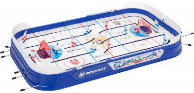 Настольный хоккей NordwayНастольный хоккей от nordway - это увлекательная игра для детей и взрослых, которая позволит отлично провести время с семьей или в кругу друзей.<br>Размер в собранном виде (д х ш х в): 89 х 50 х 78; Вес, кг: 3,7; Размер игрового поля (д х ш): 88 х 48; Состав: Полистирол, сталь, полипропилен; Вид спорта: Настольный хоккей; Наличие шайб: В комплекте; Количество шайб: 2; Производитель: Nordway; Артикул производителя: NDW-IH; Срок гарантии: 1 год; Страна производства: Россия; Размер RU: Без размера;