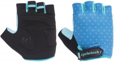 Перчатки велосипедные Cyclotech HoyaВелосипедные перчатки cyclotech не дают рукам скользить на руле. Особенности модели: гасят неприятные вибрации; комфортная посадка; хорошая вентиляция.<br>Возраст: Взрослые; Пол: Женский; Размер: 7; Материал верха: 50 % искусственная кожа, 40 % эластан, 10 % нейлон; Материал подкладки: Искусственная кожа; Тип фиксации: Липучка; Производитель: Cyclotech; Артикул производителя: HOYA-B-M; Страна производства: Пакистан; Размер RU: 7;