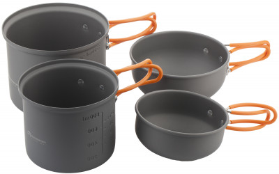 Набор посуды OutventureНабор посуды, состоящий из двух котелков и двух мисок разных размеров, подойдет для приготовления пищи в походах и во время отдыха на природе.<br>Вес, кг: 0,7; Размеры (дл х шир х выс), см: 14,5 х 14,5 х 18; Производитель: Outventure; Срок гарантии: 1 год; Вид спорта: Кемпинг, Походы; Артикул производителя: U00999; Страна производства: Китай; Размер RU: Без размера;