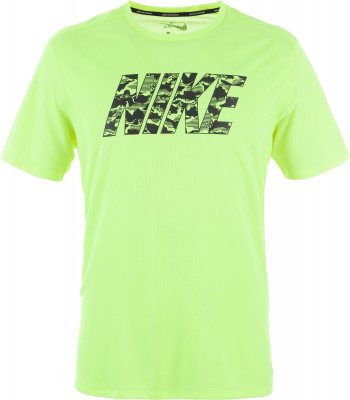 Футболка мужская Nike BreatheБеговая футболка nike breathe, выполненная из влагоотводящей ткани, обеспечивает комфорт во время пробежки.<br>Пол: Мужской; Возраст: Взрослые; Вид спорта: Бег; Покрой: Прямой; Дополнительная вентиляция: Да; Материалы: 100 % полиэстер; Технологии: Nike Dri-FIT; Производитель: Nike; Артикул производителя: 891788-702; Страна производства: Шри-Ланка; Размер RU: 52-54;
