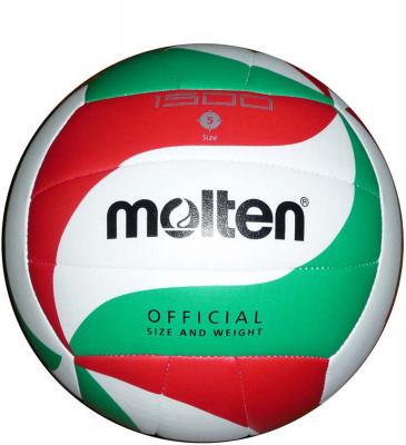Мяч волейбольный MoltenОчень прочный мяч для школьных тренировок и любительской игры изготовлен из мягкой синтетической кожи; оригинальный крой панелей; машинная сшивка.<br>Сезон: 2015; Возраст: Взрослые; Вид спорта: Волейбол; Тип поверхности: Универсальные; Назначение: Тренировочные; Материал покрышки: Синтетическая кожа; Материал камеры: Бутил; Способ соединения панелей: Машинная сшивка; Количество панелей: 16; Вес, кг: 0,28; Производитель: Molten; Артикул производителя: V5M1500; Срок гарантии: 2 года; Страна производства: Китай; Размер RU: 5;