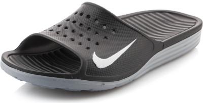 Шлепанцы мужские Nike SolarsoftУниверсальные и легкие мужские шлепанцы nike solarsoft отлично подойдут для бассейна.<br>Пол: Мужской; Возраст: Взрослые; Вид спорта: Плавание; Материал верха: 100 % синтетическая кожа; Материал подошвы: 100 % пластик; Производитель: Nike; Артикул производителя: 386163-011; Страна производства: Вьетнам; Размер RU: 45;